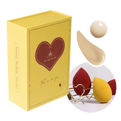 心悅美妝蛋海棉套裝心形BB粉撲(黃紅)