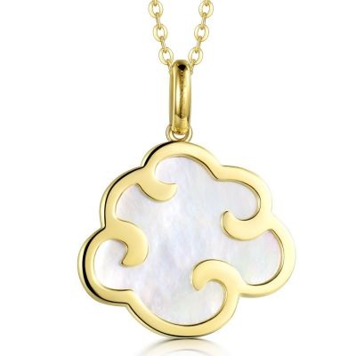 18K Yellow Color Gold Mother of Pearl Pendant (Orient Treasures - Yun Cai) set with 18K Yellow Color Gold Necklace (18 inches)