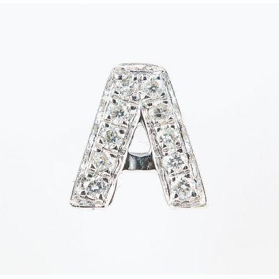 6mm A字母鑽石耳環