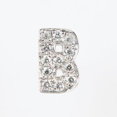 6mm B字母鑽石耳環