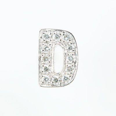 6mm D字母鑽石耳環
