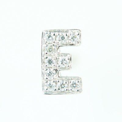 6mm E字母鑽石耳環