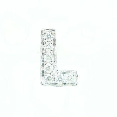 6mm L字母鑽石耳環