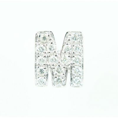 6mm M字母鑽石耳環