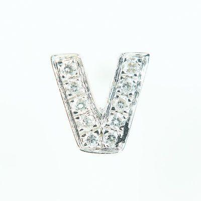 6mm V字母鑽石耳環