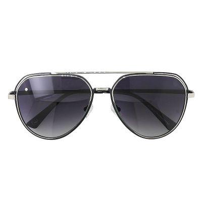 银金色镜框, 黑色镜片镶钻太阳眼镜 (ASG956A-1)