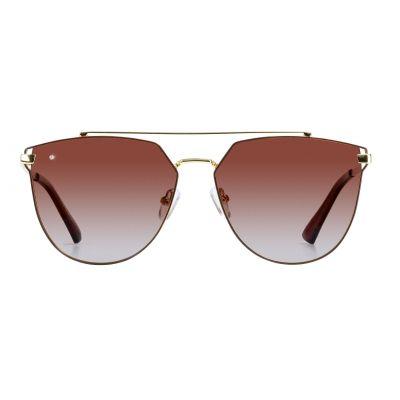 金色镜框, 棕色镜片镶钻太阳眼镜 (ASG12815-3000)