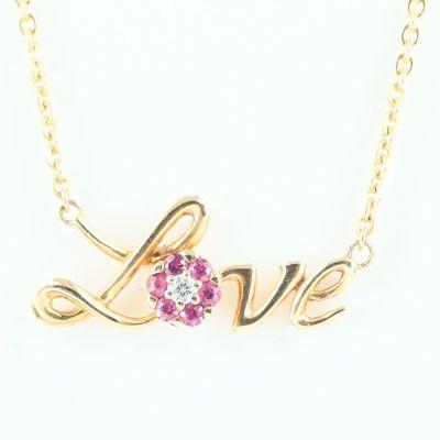 18K玫瑰色黄金LOVE钻石项鍊