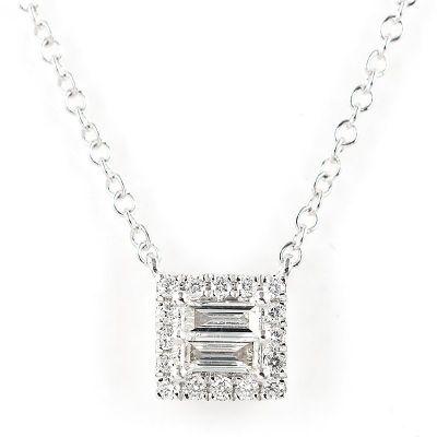 18K白色黄金方形钻石项鍊