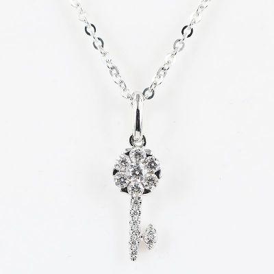 18K白色黄金精緻钥匙钻石项鍊