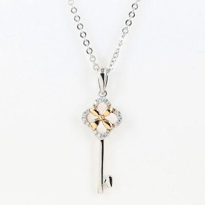 18K白色/玫瑰色黄金钥匙钻石项鍊