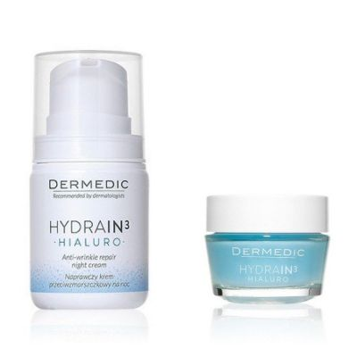 [Special Offer]DERMEDIC- HYDRAIN 3 HIALURO anti - wrinkle repair night cream 55g+HIALURO Cream- Gel ultra- Hydrating 50g