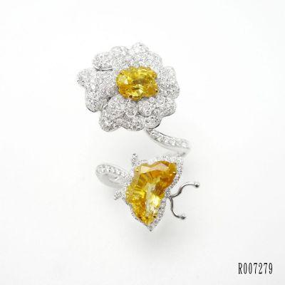 黃色藍寶石鑽石戒指