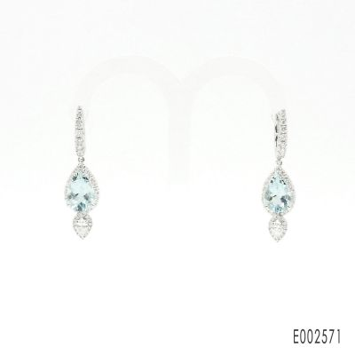 Aqurmarine Diamond Earrings