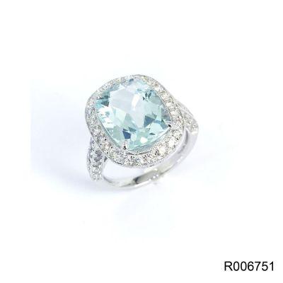 海藍寶石鑽石戒指