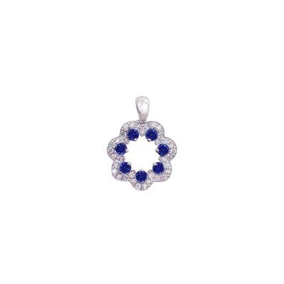 18K white gold blue sapphire diamond pendant - D858-BS-14  (1.92g)