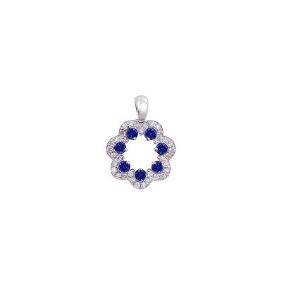 18K white gold blue sapphire diamond pendant - D858-BS-13  (1.90g)