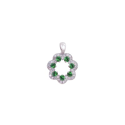 18K white gold tsavorite diamond pendant - D858-GG-7  (1.90g)