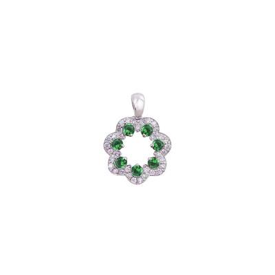 18K white gold tsavorite diamond pendant - D858-GG-12  (1.91g)
