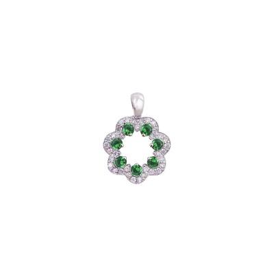 18K white gold tsavorite diamond pendant - D858-GG-17  (1.90g)