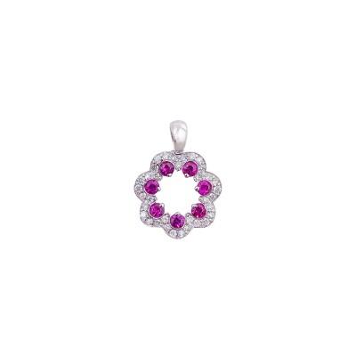 18K white gold ruby diamond pendant - D858-RB-10  (1.88g)