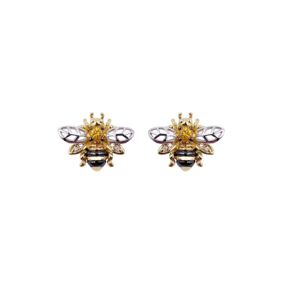 18K yellow gold yellow sapphire diamond earring - ER1651A-YS-3  (3.25g)