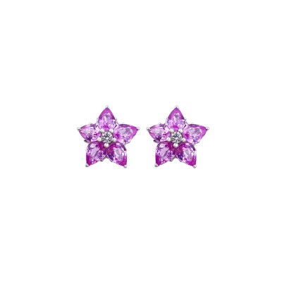 18K white gold pink sapphire diamond earring - ER1647A-PS-7  (2.84g)