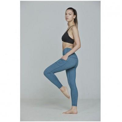 高腰跑步緊身褲 - 條紋藍色 M碼