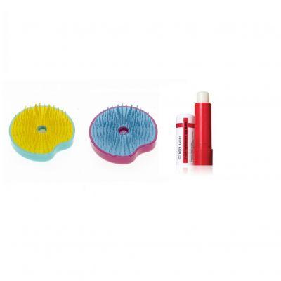 買迷你解結圓刷 (黃色/綠色) 送迷你解結圓刷 (藍色/紫紅色)+ 全效水光滋潤唇膏