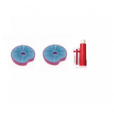 買迷你解結圓刷 (藍色/紫紅色) 送迷你解結圓刷 (藍色/紫紅色)+ 全效水光滋潤唇膏