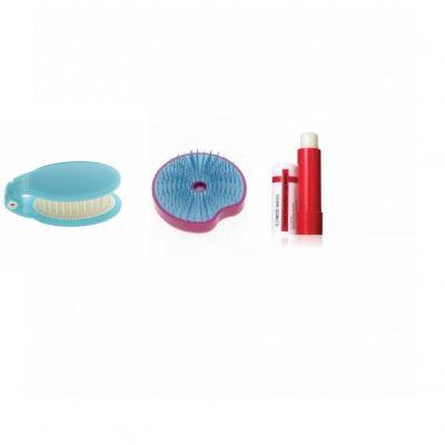 買橢圓形折疊鏡梳 送迷你解結圓刷 (藍色/紫紅色)+ 全效水光滋潤唇膏