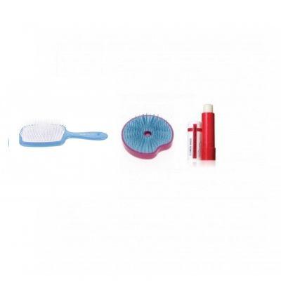 買寬板頭皮按摩梳 (藍色) 送迷你解結圓刷 (藍色/紫紅色)+ 全效水光滋潤唇膏